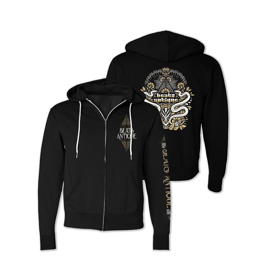 Beats antique unisex ornate snakes zip hoodie black