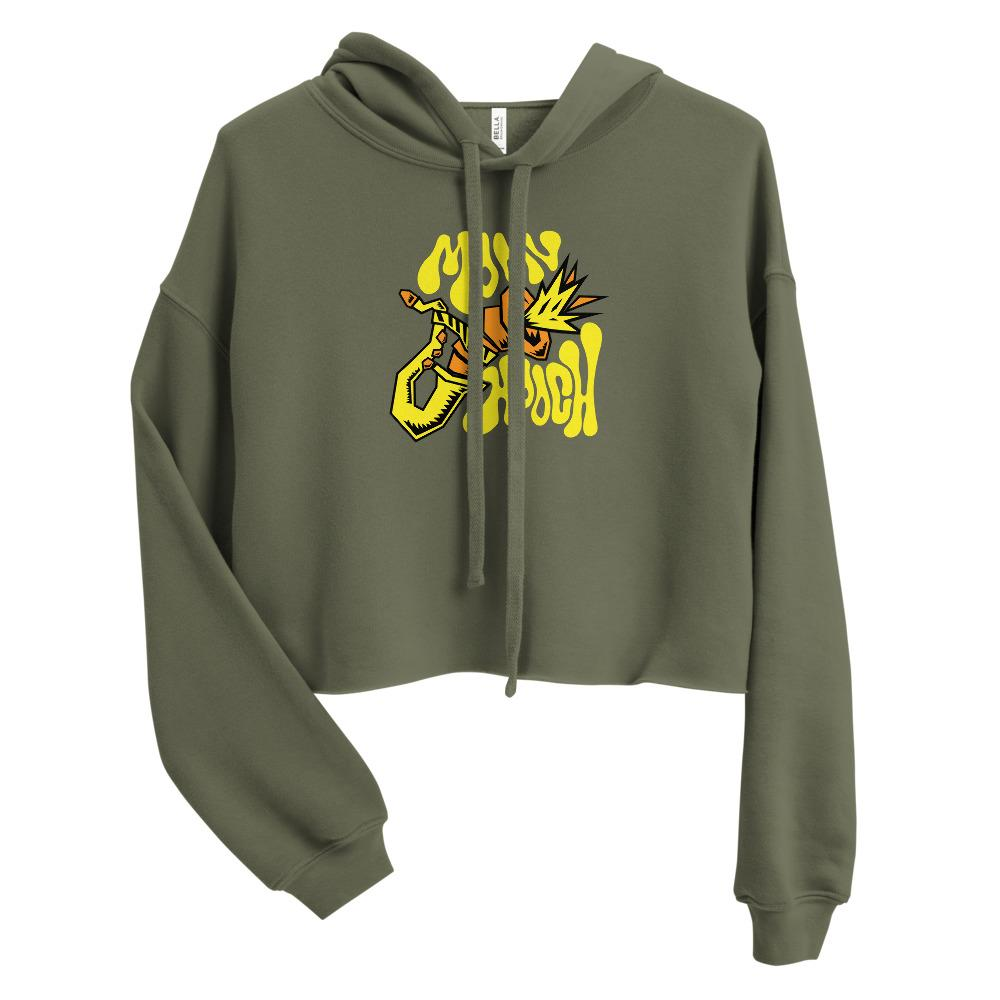 Womens cropped hoodie military green 6009dc06819c6